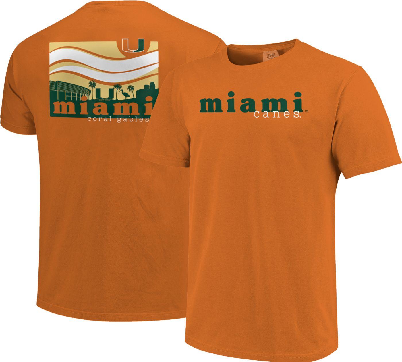 Image One Men's Miami Hurricanes Orange Campus Scene Waves T-Shirt