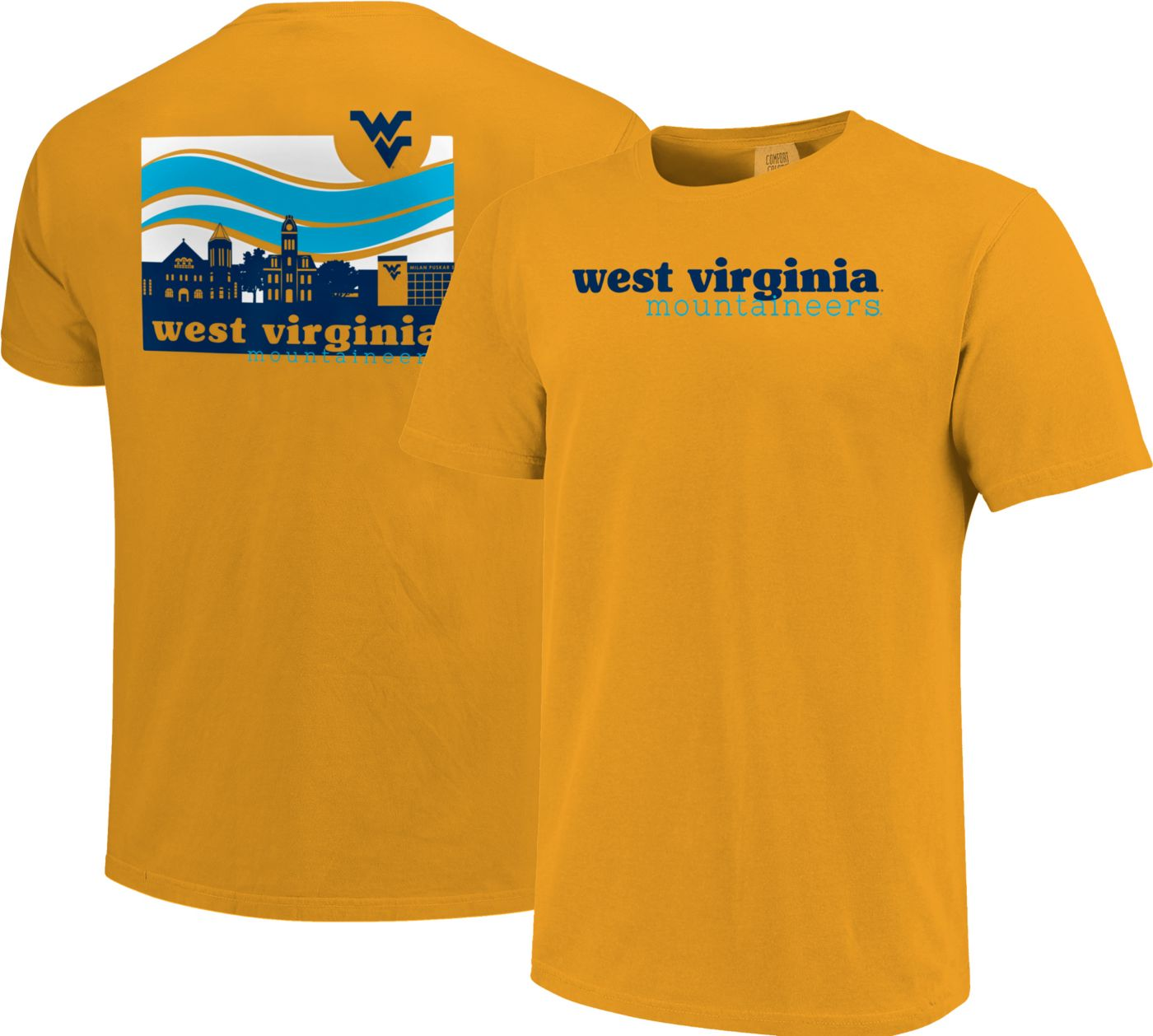 Image One Men's West Virginia Mountaineers Gold Campus Scene Waves T-Shirt
