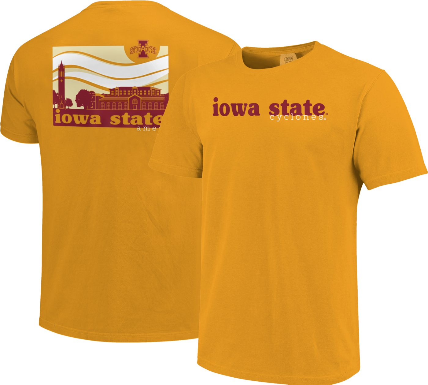 Image One Men's Iowa State Cyclones Gold Campus Scene Waves T-Shirt