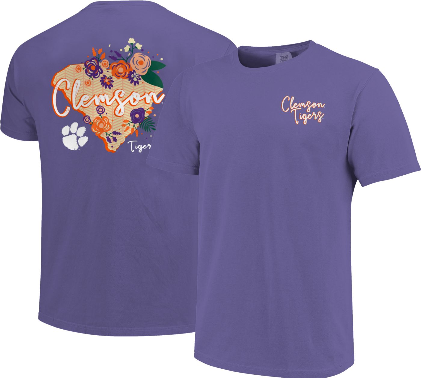 Image One Women's Clemson Tigers Regalia Floral State T-Shirt