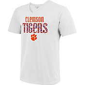Image One Women's Clemson Tigers Large Type Pattern White T-Shirt