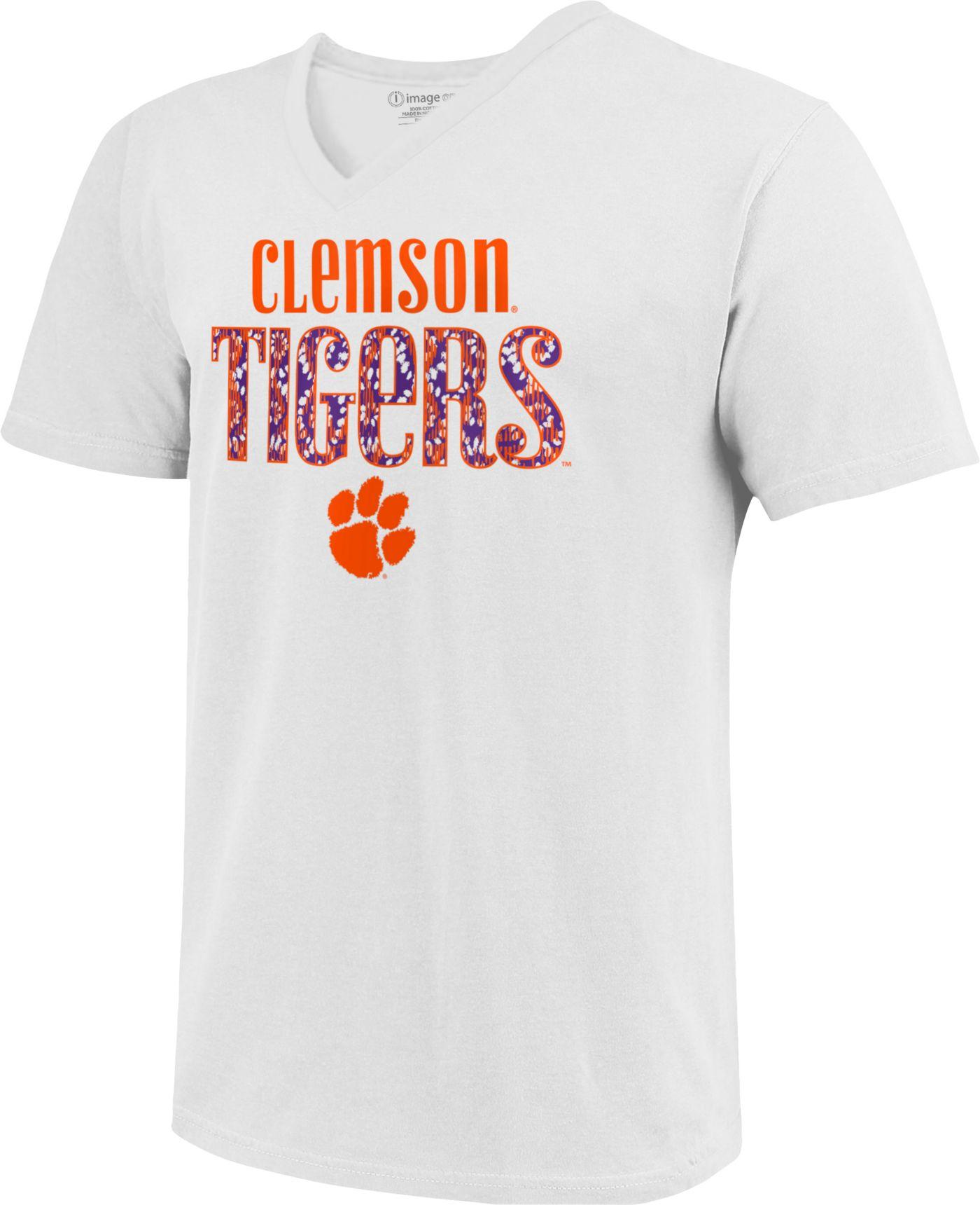Image One Women's Clemson Tigers White Large Type Pattern V-Neck T-Shirt