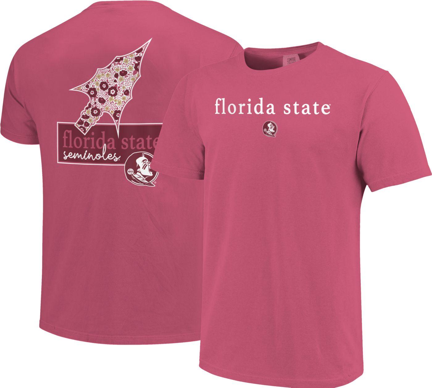 Image One Women's Florida State Seminoles Pink Bar Script T-Shirt