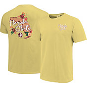 Image One Women's Florida State Seminoles Gold Floral State T-Shirt