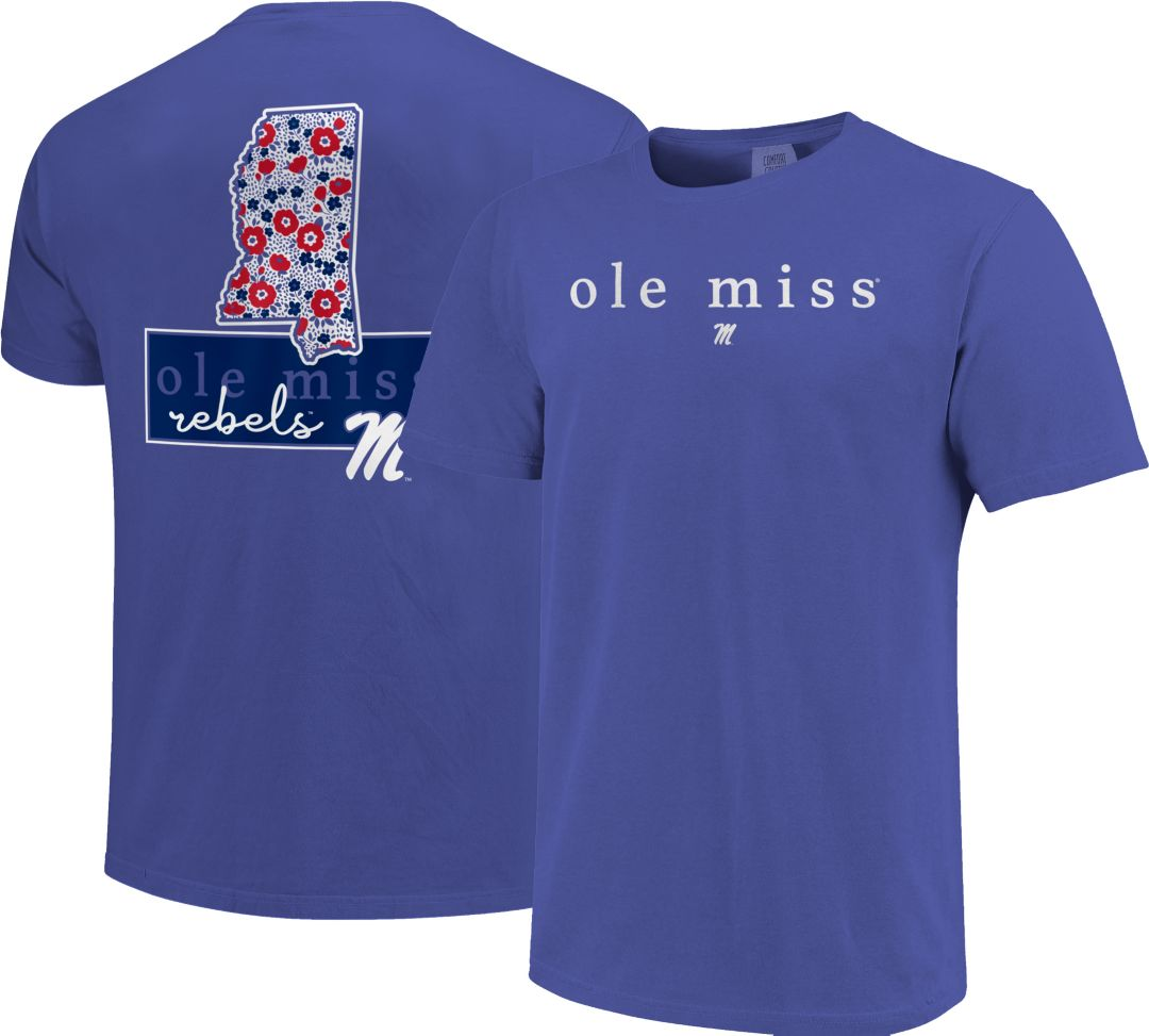 cheap for discount 669ce 3eedb Image One Women's Ole Miss Rebels Blue Bar Script T-Shirt