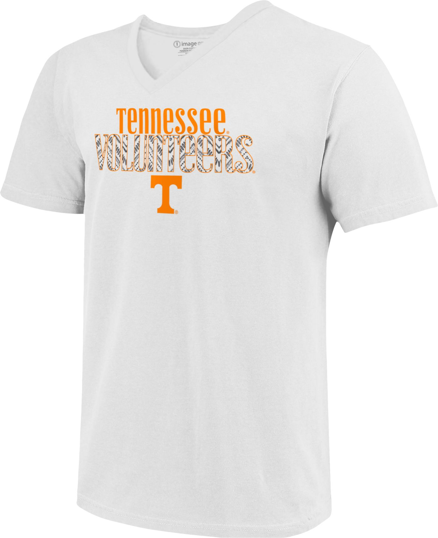 Image One Women's Tennessee Volunteers White Large Type Pattern V-Neck T-Shirt