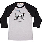 Home State Apparel Women's Georgia Freehand Three Quarter Length Sleeve Raglan T-Shirt