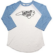 Home State Apparel Women's North Carolina Freehand Three Quarter Length Sleeve Raglan T-Shirt