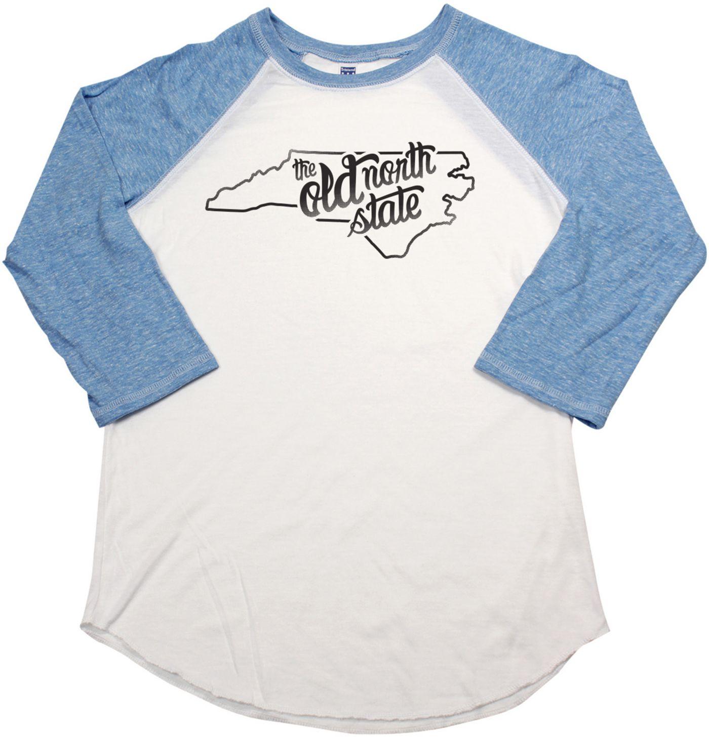 Home State Apparel Women's North Carolina Freehand Three Quarter Length Sleeve Raglan T-Shirt