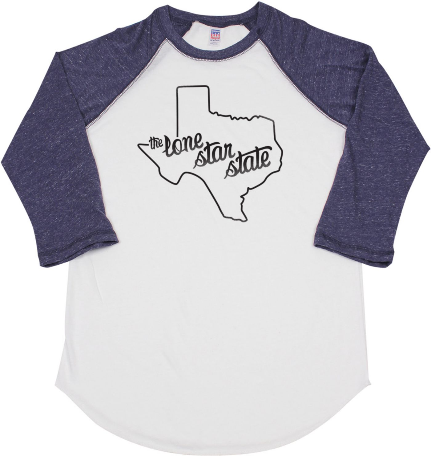 Home State Apparel Women's Texas Freehand Three Quarter Length Sleeve Raglan T-Shirt