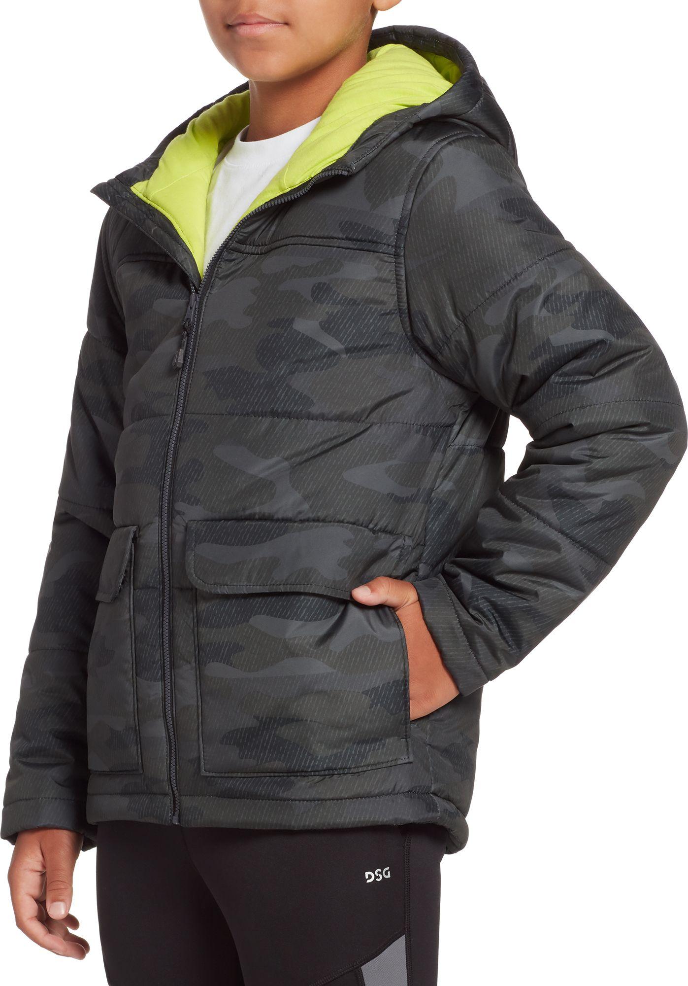 DSG Boys' Printed Insulated Jacket, XXS, Asphalt Twill Camo