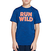DSG Boys' Graphic Training T-Shirt in Navy/Blue Blaze/Run Wild