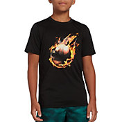 DSG Boys' Graphic Training T-Shirt in Pure Black Flaming Ball