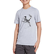 DSG Boys' Graphic Training T-Shirt in Silver Dollar/White/Kick