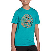 DSG Boys' Graphic Training T-Shirt in Teal Motif/Bball Words