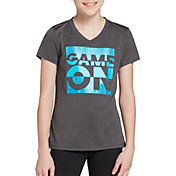 DSG Girls' Performance Graphic T-Shirt in Dhg/Game On