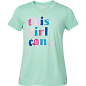 DSG Girls' Performance Graphic T-Shirt in Htr Frost Mint/This Girl