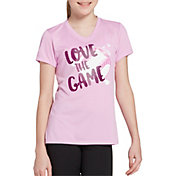 DSG Girls' Performance Graphic T-Shirt in Htr Pale Orchid/Love Game