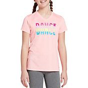 DSG Girls' Performance Graphic T-Shirt in Htr Peach Sorbet/Dance