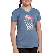 DSG Girls' Performance Graphic T-Shirt in Moonlight Blue Heather