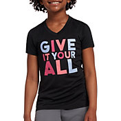 DSG Girls' Performance Graphic T-Shirt in Pure Black Give Your All