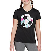 DSG Girls' Performance Graphic T-Shirt in Pure Black/Soccer Ball