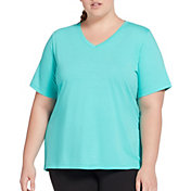 DSG Women's Plus Size Core Cotton Jersey V-Neck T-Shirt in Atlantis Heather