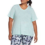 DSG Women's Plus Size Core Cotton Jersey V-Neck T-Shirt in Blue Tint Slub