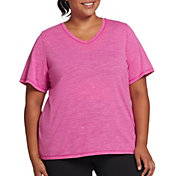 DSG Women's Plus Size Core Cotton Jersey V-Neck T-Shirt in Lush Berry Slub