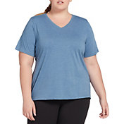 DSG Women's Plus Size Core Cotton Jersey V-Neck T-Shirt in Moonlight Blue Hthr
