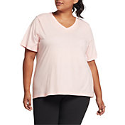 DSG Women's Plus Size Core Cotton Jersey V-Neck T-Shirt in Peach Sorbet Heather