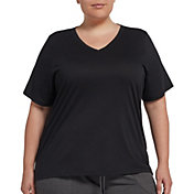 DSG Women's Plus Size Core Cotton Jersey V-Neck T-Shirt in Pure Black