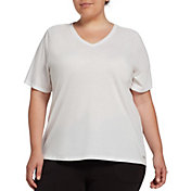 DSG Women's Plus Size Core Cotton Jersey V-Neck T-Shirt in Pure White