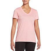 DSG Women's Core Cotton Jersey V-Neck T-Shirt in Blush Noir Heather