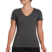 DSG Women's Core Cotton Jersey V-Neck T-Shirt in Dark Heather Gray