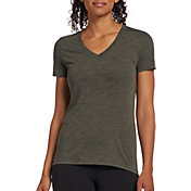 DSG Women's Core Cotton Jersey V-Neck T-Shirt in Forest Night Slub