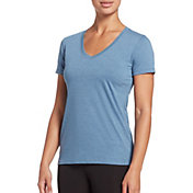 DSG Women's Core Cotton Jersey V-Neck T-Shirt in Moonlight Blue Hthr