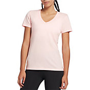 DSG Women's Core Cotton Jersey V-Neck T-Shirt in Peach Sorbet Heather