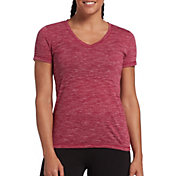 DSG Women's Core Cotton Jersey V-Neck T-Shirt in Raspberry Sherbet Slub