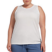 DSG Women's Plus Size Core Cotton Jersey Tank Top in Pure White