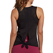 DSG Women's Knot Back Burnout Tank Top in Pure Black Burnout