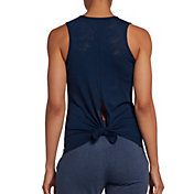 DSG Women's Knot Back Burnout Tank Top in University Navy Burnout