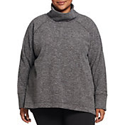 DSG Women's Plus Size Polar Fleece Funnel Neck Heather Sweatshirt