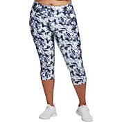 DSG Women's Plus Size Performance Capris in Elemental Camo Icy Purple