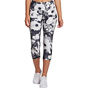 DSG Women's Performance Capris in Abstract Floral Black And White