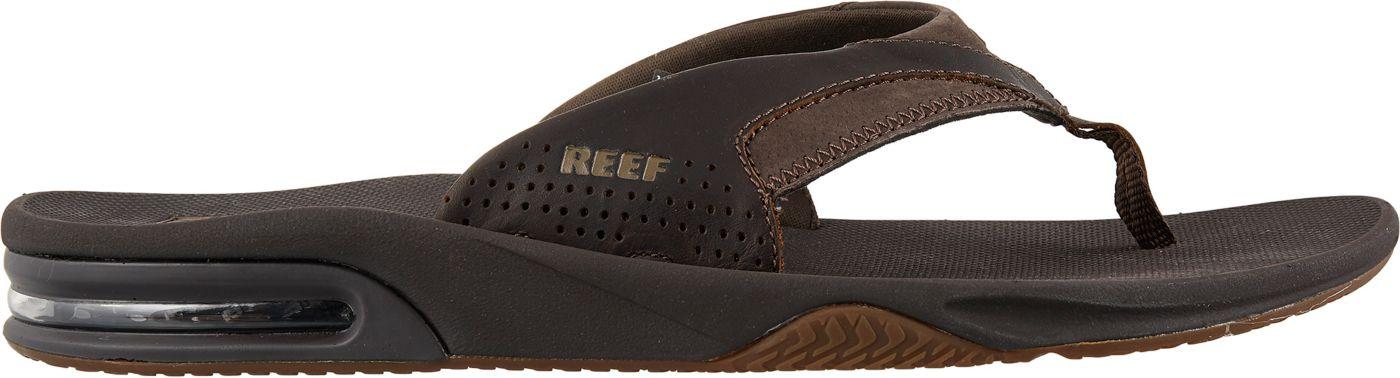 Reef Men's Leather Fanning Flip Flops