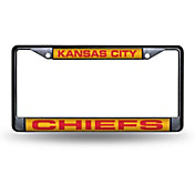 Rico Kansas City Chiefs Black Laser Chrome License Plate Frame