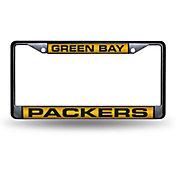 Rico Green Bay Packers Black Laser Chrome License Plate Frame