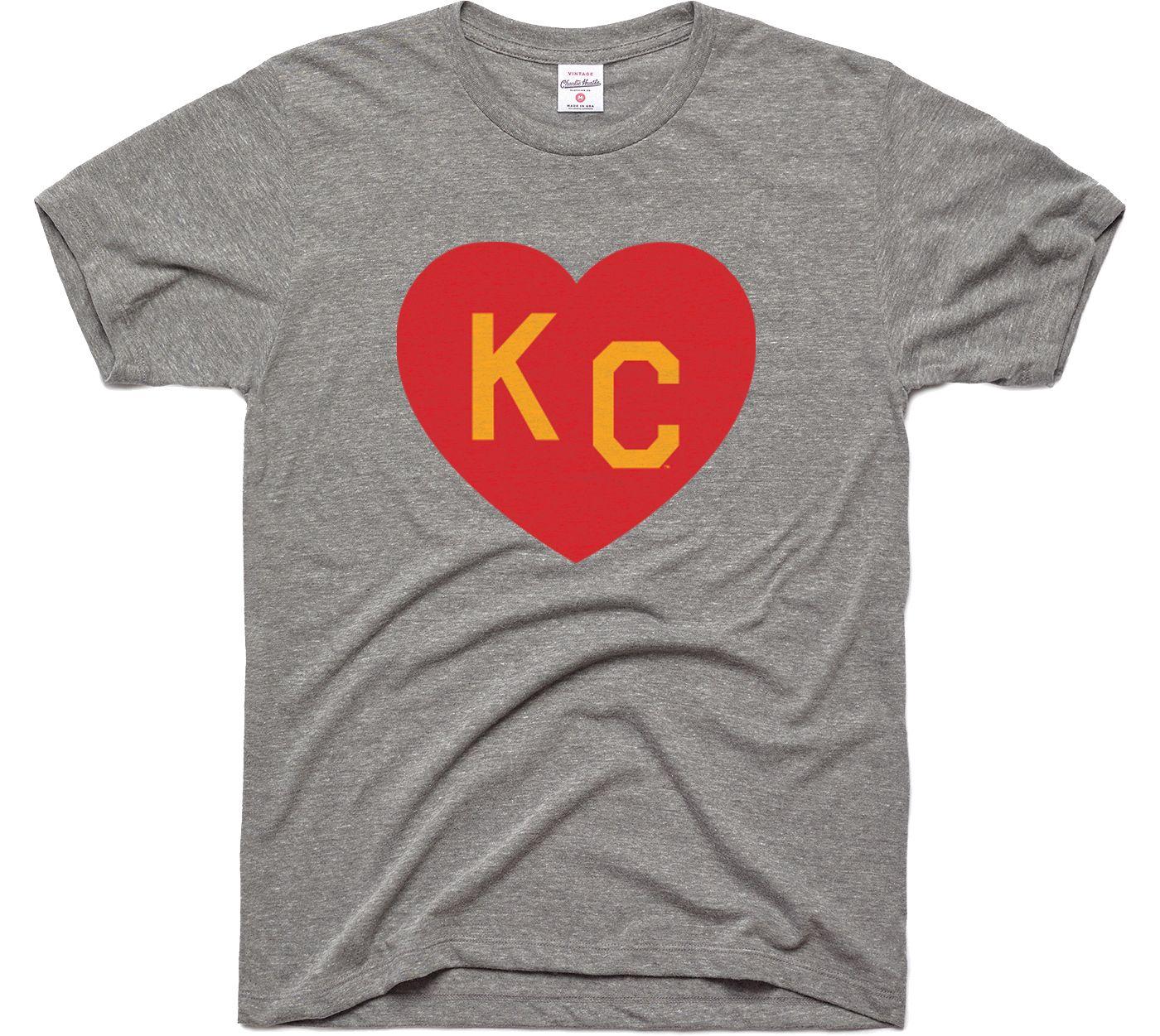 Charlie Hustle Men's KC Heart Vintage Grey T-Shirt