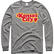 Charlie Hustle Men's Kansas City Heart Heather Grey Long Sleeve Shirt
